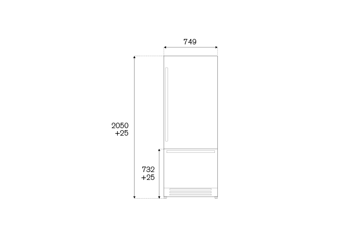 75cm Built-In Bottom Mount, Panel Installed Right hinges | Bertazzoni