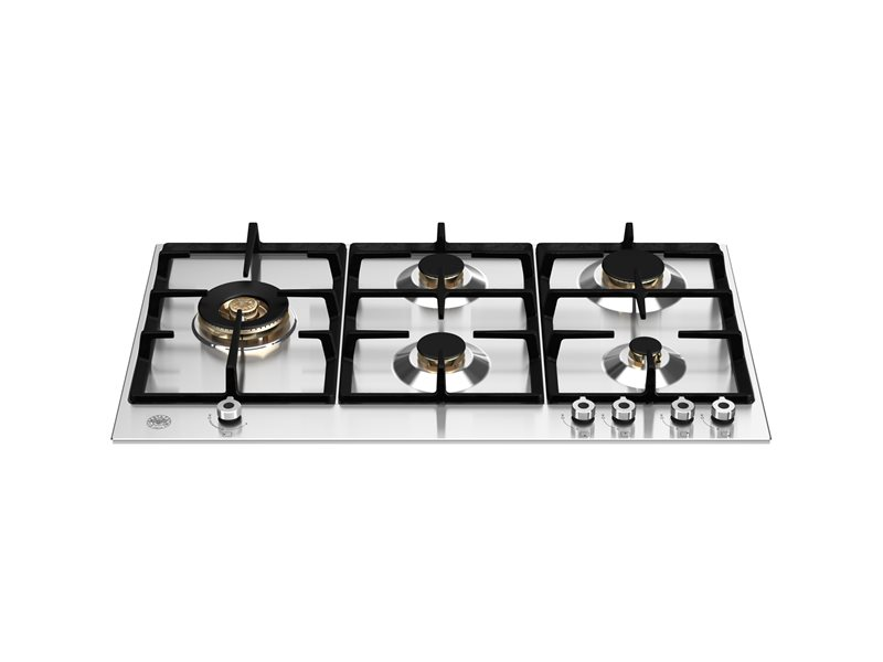 90 cm Gas hob with lateral dual wok | Bertazzoni - Stainless Steel