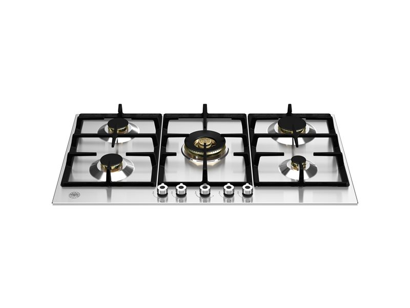 90 cm Gas hob with central dual wok | Bertazzoni - Stainless Steel