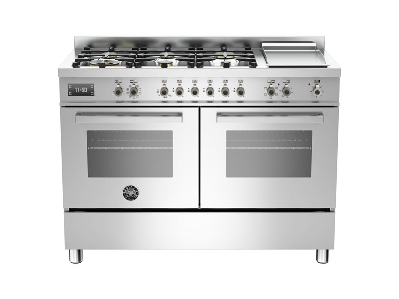 120 cm 6-burner + griddle, Electric Double Oven | Bertazzoni - Stainless Steel
